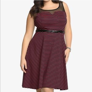 Torrid Hot Pink and Black Striped Skater Dress